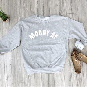 NEW💋 Graphic Sweatshirt Moody AF black Gray S-5X